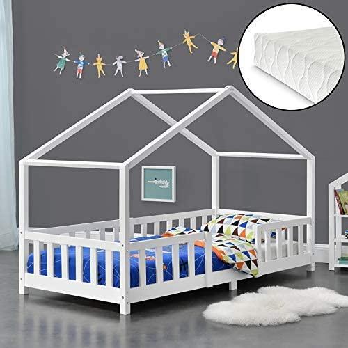[en.casa] 'Treviolo' Hausbett, weiß, 90x200 cm, inkl. Matratze, Lattenrost und Rausfallschutz Bild 1
