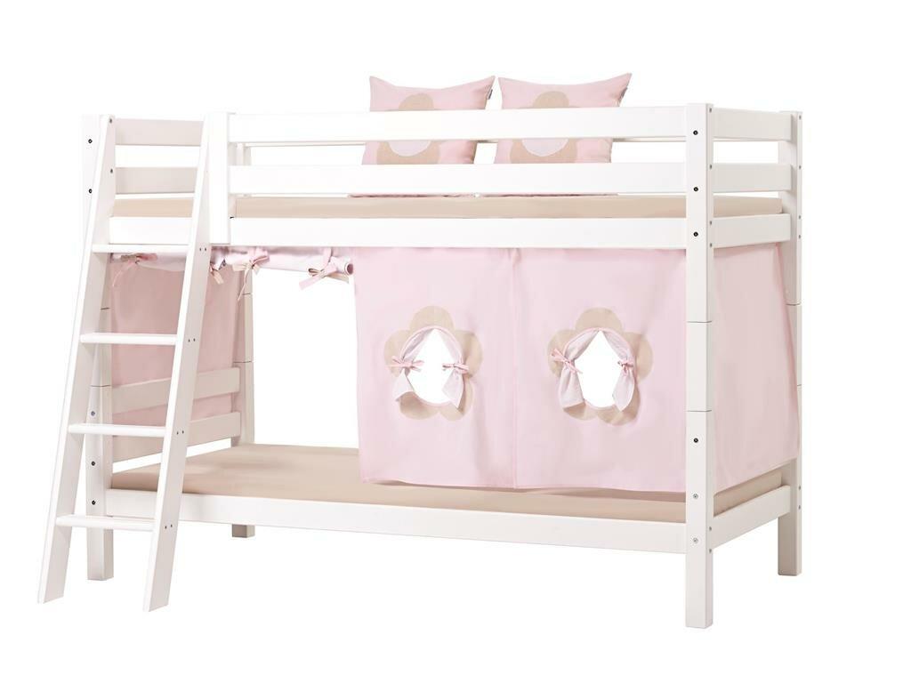 Hoppekids 'Premium' Etagenbett weiß, mit schräger Leiter, inkl. Lattenrost und extra Schutzvorrichtung Bild 1