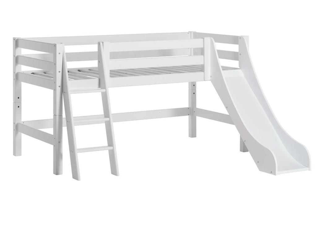 Hoppekids 'Premium' Halbhochbett weiß, schräge Leiter, 70x160 cm Bild 1