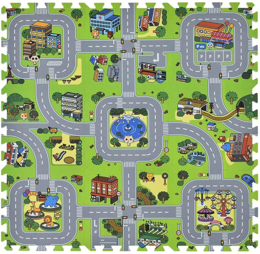 Juskys 'Jascha' Puzzlematte, 9 Teile, Stadt mit Straßen, rutschfest & abwischbar, 1 cm dick Bild 1