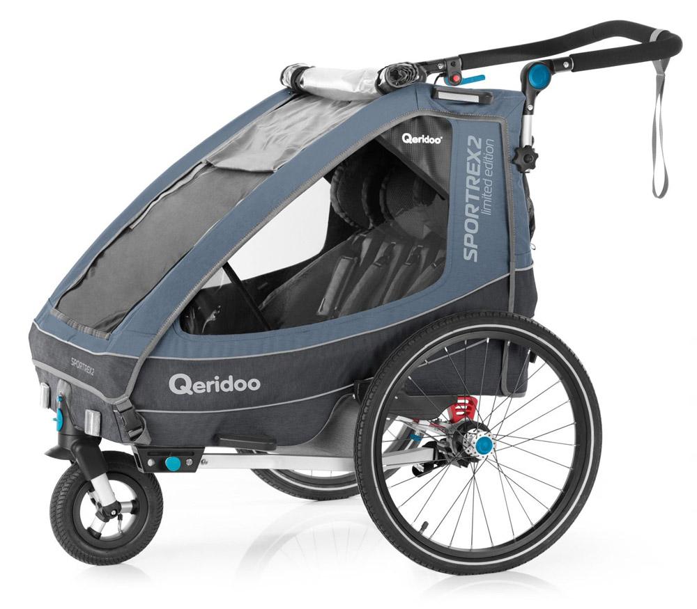 Qeridoo 'Sportrex2' Fahrradanhänger 2020/21, Grau Limited Edition, 2-Sitzer Bild 1