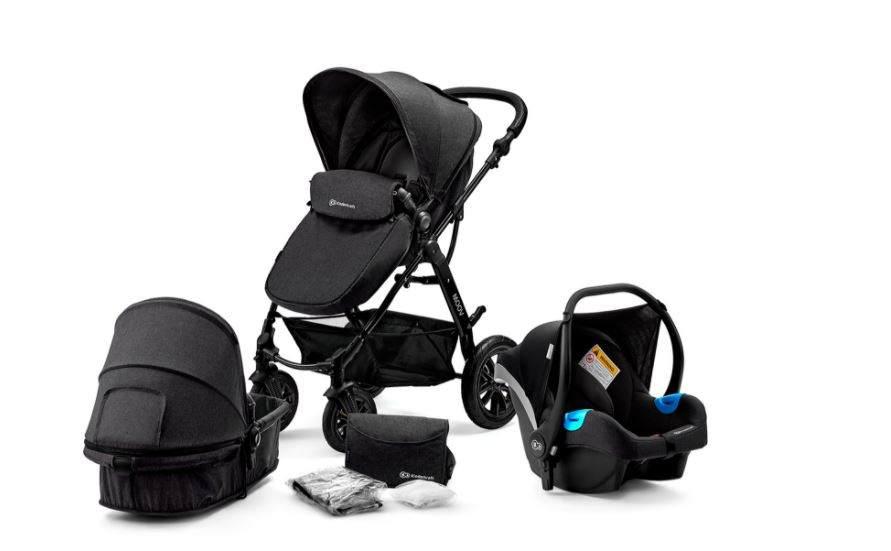 Kinderkraft 'Moov' Kombikinderwagen 3 in 1 Black, inkl. Babywanne, Babyschale, Fußsack, Wickeltasche, Insekten - und Regenschutz Bild 1