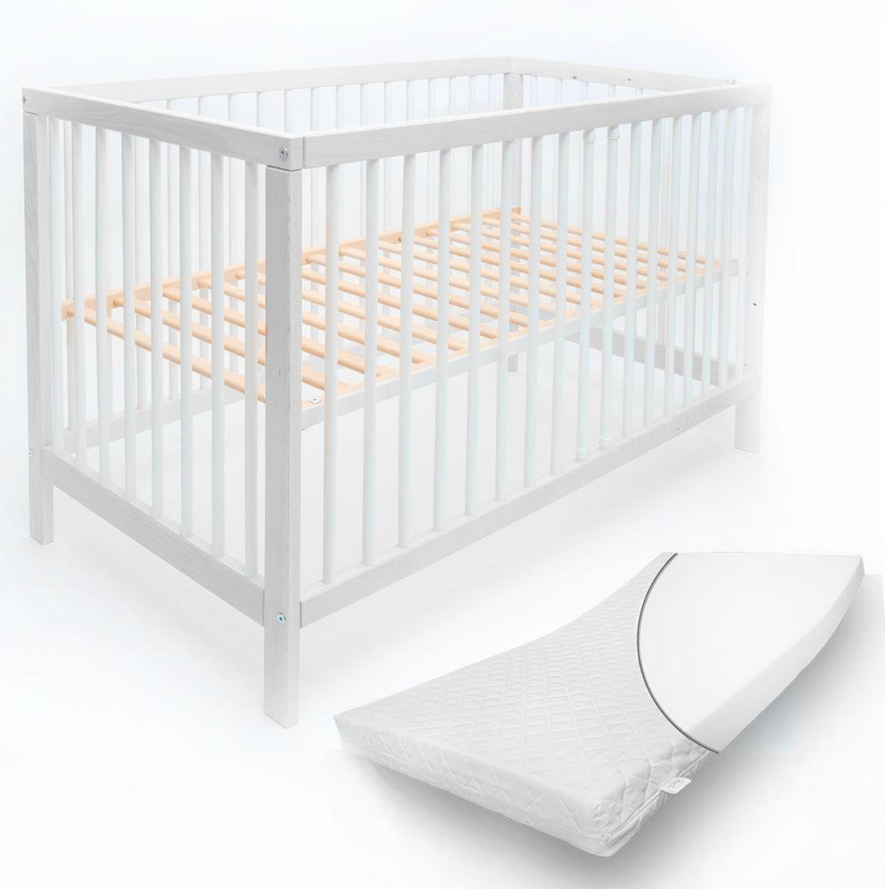 Alcube 'Toni' Babybett 60x120cm, weiß, Buche massiv, umbaubar, mit Schlupfsprossen, Matratze und mit Schublade Bild 1