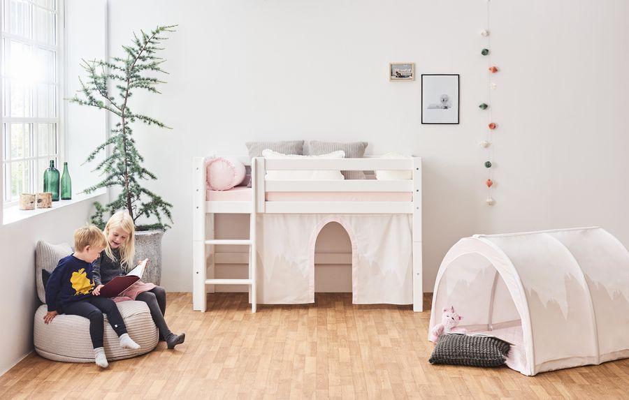 Hoppekids 'Premium' Halbhochbett weiß, gerade Leiter, 70x160 cm Bild 1