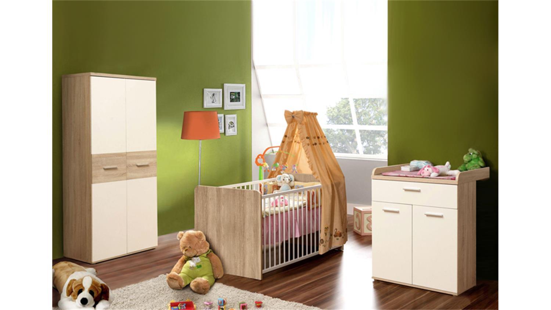 FORTE 'WINNIE' Möbel 4-tlg. Babyzimmer-Set sonoma eiche/weiß inkl. Bett, Kleiderschrank, Kommode Bild 1