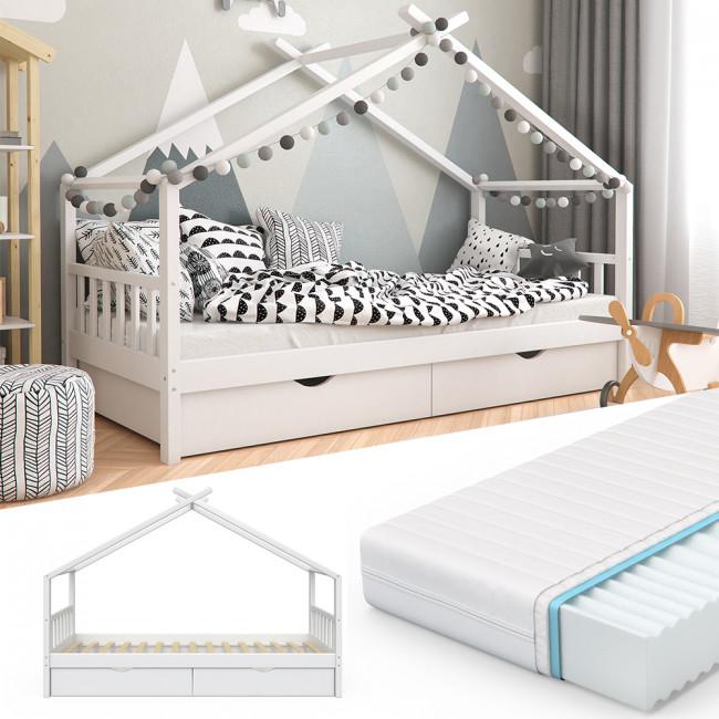 VitaliSpa 'Design' Hausbett weiß, 90x200 cm, inkl. Matratze und Schubladen Bild 1