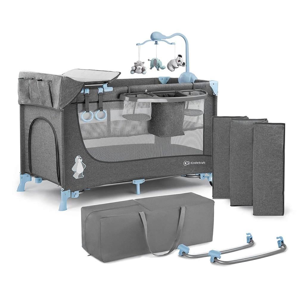 Kinderkraft 'Joy' Reisebett 120 x 60 cm, Blau, mit Schaukelfunktion, Seitenausgang und Rollen, inkl. Mobile, Wickelauflage und Tasche Bild 1