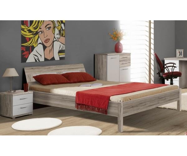 Bett BEACH Kinderzimmerbett in Sandeiche und weiß 140x200 Bild 1