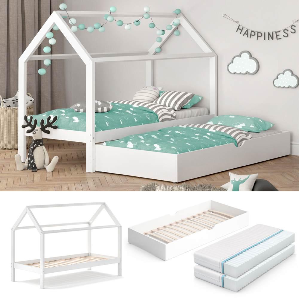 VitaliSpa 'Wiki' Hausbett 90x200 cm weiß inkl. Lattenrost, Gästebett und 2 Matratzen Bild 1