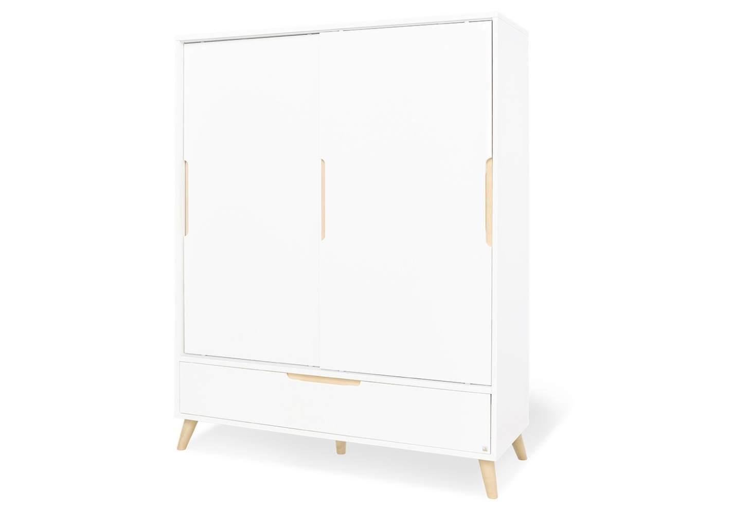 Pinolino 'Move' 2-trg. Kleiderschrank, weiß, mit Schiebetüren, Kleiderstange, Schublade und 6 Ablagefächern Bild 1