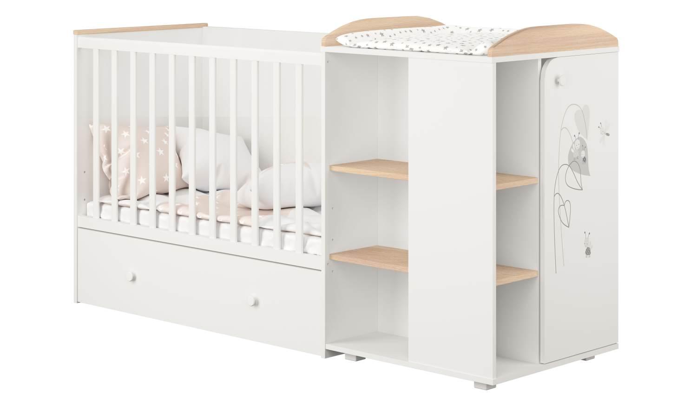 Polini kids 'Fench 950' Kombi-Kinderbett 60x120 cm, Amis, weiß-eiche, mit integrierter Wickelkommode, Umbausatz und Bettschublade, umbaubar zum Jugenbett 90x200 cm Bild 1