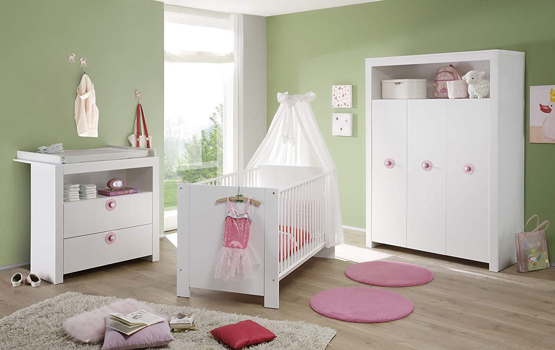 Trendteam 'Olivia' 3-tlg. Babyzimmer-Set Weiß mit Filzapplikation in Violett, Bild 1