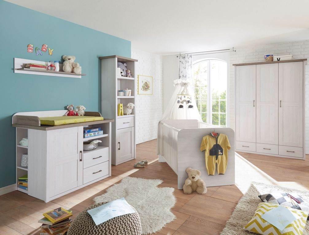 Bega 'Luca' 5-tlg. Babyzimmer-Set, aus Bett 70x140 cm, Wickelkommode inkl. Unterstellregal, 3-trg. Kleiderschrank, Standregal und Wandregal Bild 1
