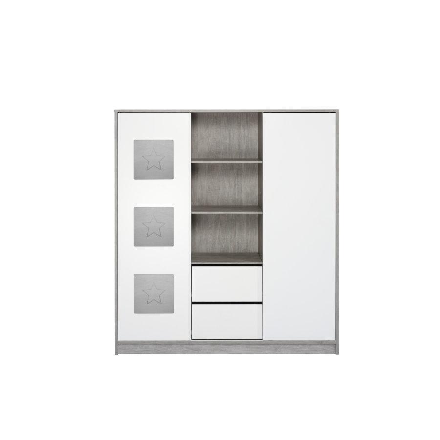 Schardt 'Eco Star' 2-trg. Kleiderschrank, driftwood/weiß, mit 2 Kleiderstangen, 2 Schubladen und 7 Ablagefächern Bild 1