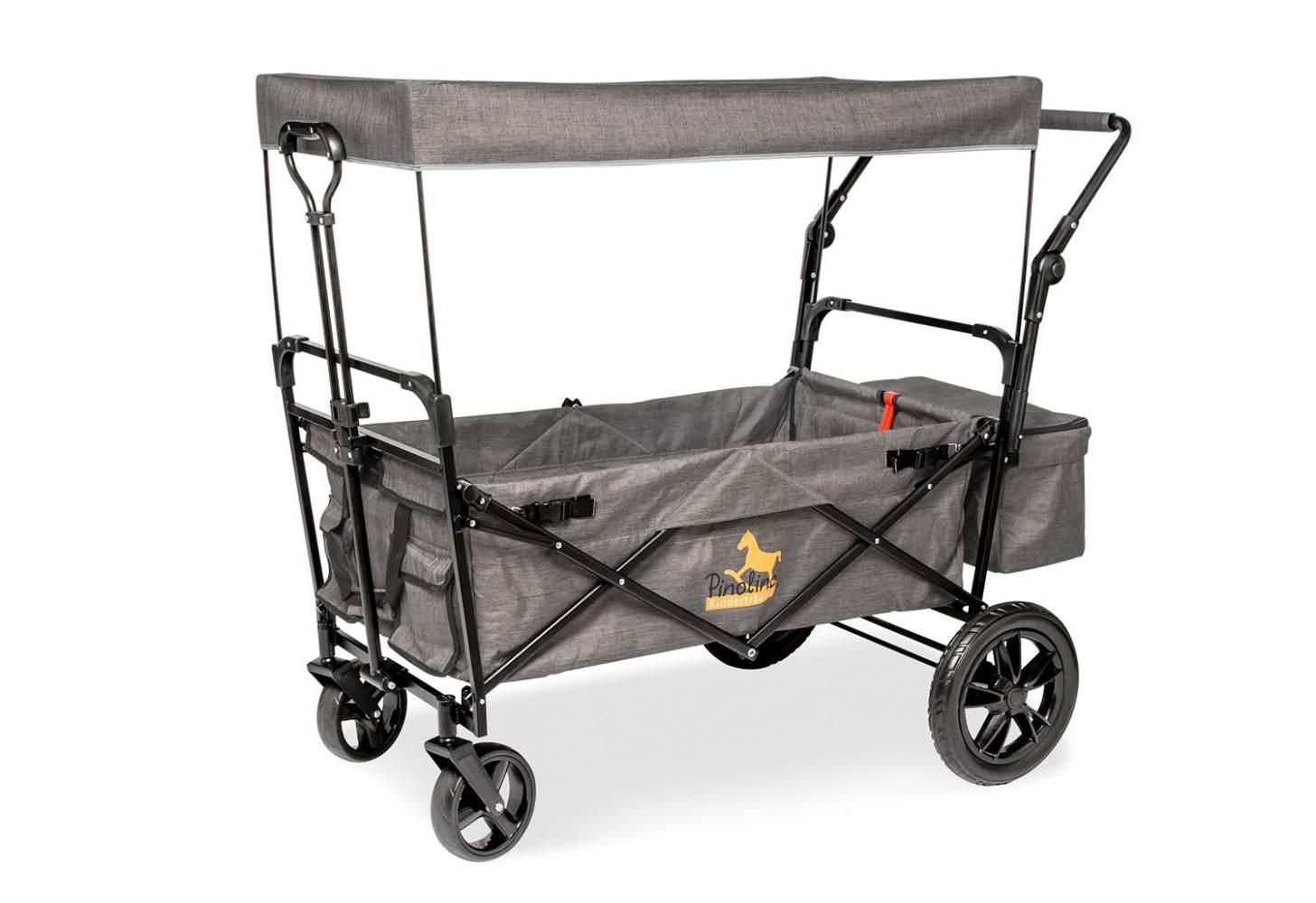 Pinolino Klappbollerwagen 'Piet Comfort' in Grau, inkl. Feststellbremse, Sonnendach, höhenverstellbarer Griff und Zugstange Bild 1