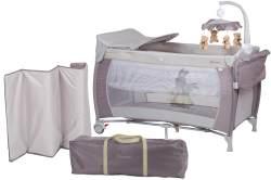 BabyGO 'Sleeper deluxe' Reisebett 60x120 cm, beige, mit Matratze, Wickelauflage, Mobile und Schlupf