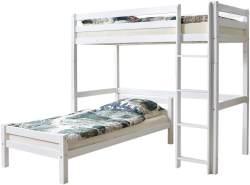 Ticaa 'Tolly' Etagenbett L-Bett Buche Weiß 90x200
