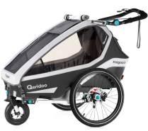 Qeridoo 'Kidgoo1 Pro' Fahrradanhänger 2020 Dunkelgrau, 1-Sitzer, inkl. XXL Kofferraum, Verdeck, 360°Grad-Belüftungssystem