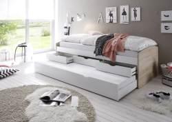 Bega 'Clara' Funktionsbett 90 x 200 cm, braun weiß, inkl. ausziehbarer Gästeliege, 3 Schubladen, Lattenrost