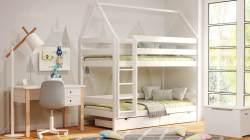 Kinderbettenwelt 'Home' Etagenbett 80x190 cm, türkis, Kiefer massiv, mit Lattenrosten