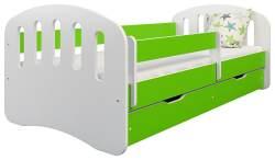 Clamaro 'Joy' Kinderbett 80x180 cm, weiß/grün, inkl. Matratze, Lattenrost und Bettkasten