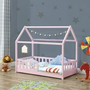 Juskys 'Marli' Hausbett 80 x 160 cm, rosa, Kiefer massiv, mit Rausfallschutz und Lattenrost