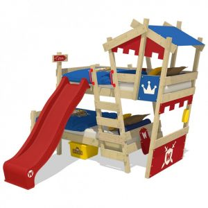 Wickey 'Crazy Castle' Etagenbett 90x200cm, blau/rot mit roter Rutsche