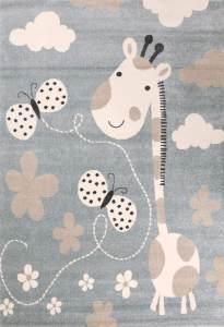 VIMODA 'Giraffe Schmetterling' Kinderteppich 160 x 230 cm, Mint-Blau