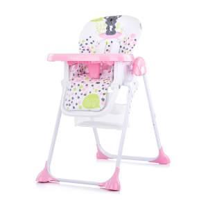 Chipolino Hochstuhl Maxi, Räder höhenverstellbar Tisch abnehmbar Korb faltbar rosa
