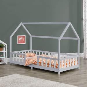 en.casa 'Sisimiut' Hausbett 90x200 cm, grau/weiß, Kieferholz, inkl. Rausfallschutz und Lattenrost