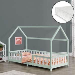 en.casa 'Sisimiut' Hausbett 90x200 cm, mint/weiß, Kieferholz, inkl. Matratze, Rausfallschutz und Lattenrost