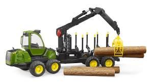 Bruder 02133 'John Deere 1210E Rückezug mit 4 Baumstämmen und Holzgreifer', Spielfahrzeug im Maßstab 1:16, ab 4 Jahren