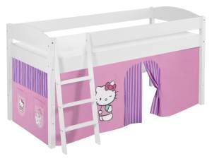 Lilokids 'Ida 4105' Spielbett 90 x 200 cm, Hello Kitty Lila, Kiefer massiv, mit Vorhang