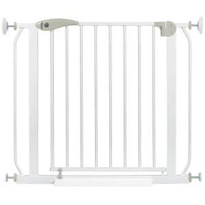ib style Berrin XXL Treppengitter inkl. Wandschutzkappen + Bodenplatte | Ohne Bohren | 85-95 cm