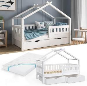 VitaliSpa 'Design' Kinderbett 80 x 160 cm, weiß, Massivholz Kiefer, inkl. 2 Schubladen und Matratze