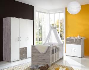 Arthur Berndt 'Franzi' Babyzimmerset 3-teilig, Eiche Sand / Weiß, aus Kinderbett (70 x 140 cm), Wickelkommode mit Aufsatzseiten und Kleiderschrank