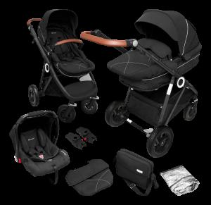 BabyGO 'Halime Air' Kombikinderwagen 4plusin1 anthrazite (black chassi) inkl. Sitz, Wanne, Babyschale, Wickeltasche, Adapter, Fußsack, Regenfolie