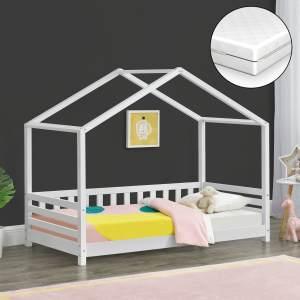 [en. casa] 'Geiranger' Hausbett 80x160cm, weiß, mit Matratze und Lattenrost