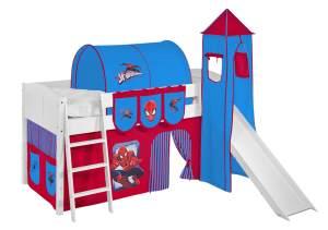 Spielbett 'LANDI/S' weiß inkl. Vorhang 'Spiderman'