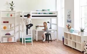 Hoppekids 'Premium' Hochbett weiß, inkl.Schreibtisch und Rollrost
