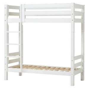 Hohes Etagenbett Weiß 70x160cm Gerade Leiter, Rolllattenrost, Hoppekids Premium