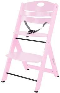 BabyGO 'Family XL' Hochstuhl, pink, Buche massiv, höhenverstellbar, inkl. Gurt und Sicherheitsbügel