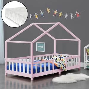 en.casa 'Treviolo' Hausbett 90x200 cm, rosa/weiß, Kiefernholz, mit Matratze, Lattenrost und Rausfallschutz