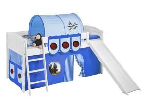 Spielbett 'LANDI/R' weiß inkl. Vorhang 'Dragons Blau'