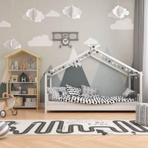 VitaliSpa 'Design' Hausbett weiß, 90 x 200 cm, Massivholz, inkl. Matratze
