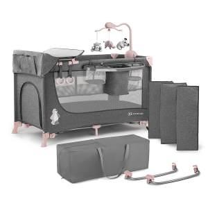Kinderkraft 'Joy' Reisebett 120 x 60 cm, Pink, mit Schaukelfunktion, Seitenausgang und Rollen, inkl. Mobile, Wickelauflage und Tasche