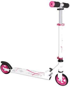 Muuwmi 347 'Aluminium Scooter 125 mm' Scooter, ab 6 Jahren, 2-fach höhenverstellbar bis 68 cm, klappbar, max. belastbar bis 100 kg, weiß/pink