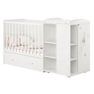 Polini kids 'Fench 950' Kombi-Kinderbett 60x120 cm, Amis, weiß, mit integrierter Wickelkommode, Umbausatz und Bettschublade, umbaubar zum Jugenbett 90x200 cm