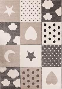 VIMODA 'Herz und Sterne' Kinderteppich 80 x 150 cm grau/beige