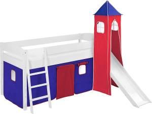 Lilokids 'Ida 4105' Spielbett 90 x 200 cm, Blau Rot, Kiefer massiv, mit Turm, Rutsche und Vorhang